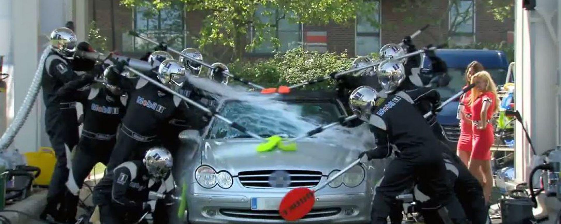 Mobil 1: un carwash in stile F1