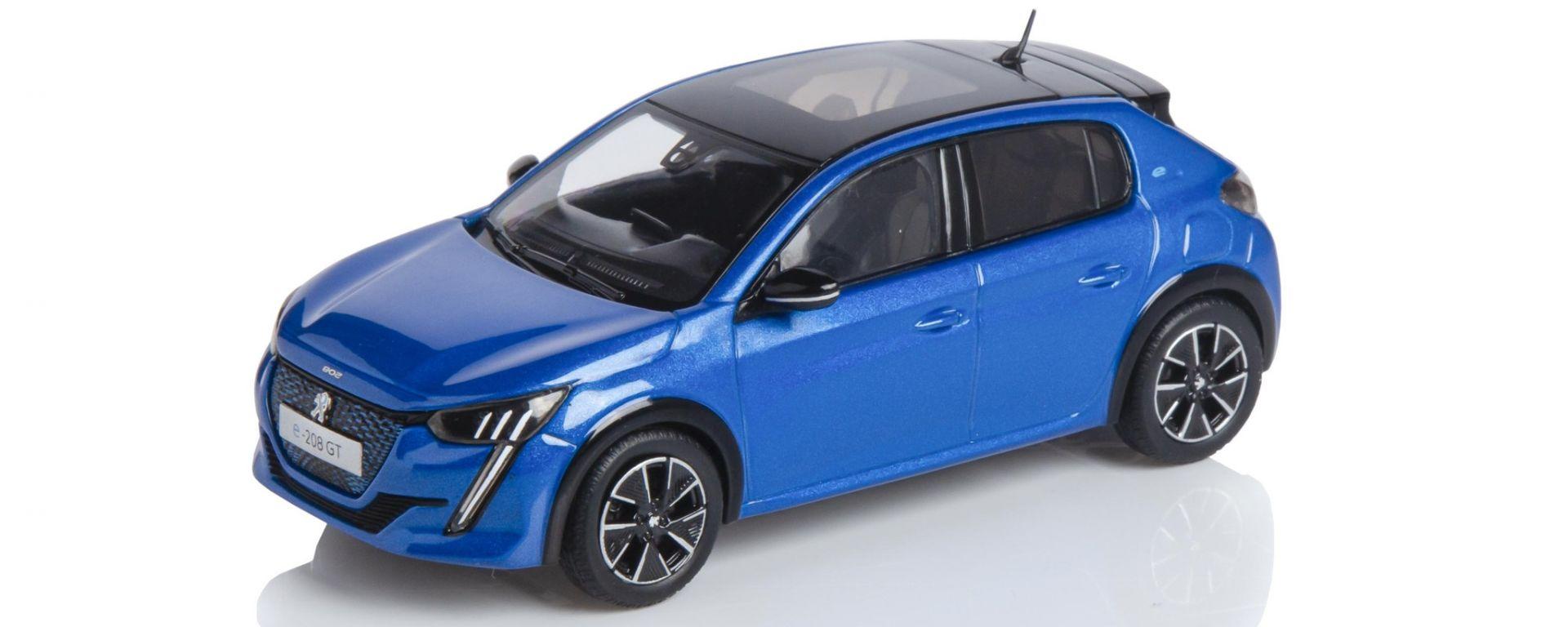 Modellino Peugeot e-208 Blu Vertigo