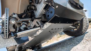 Morgan Plus Four CX-T, protezione sottoscocca e sospensioni anteriori