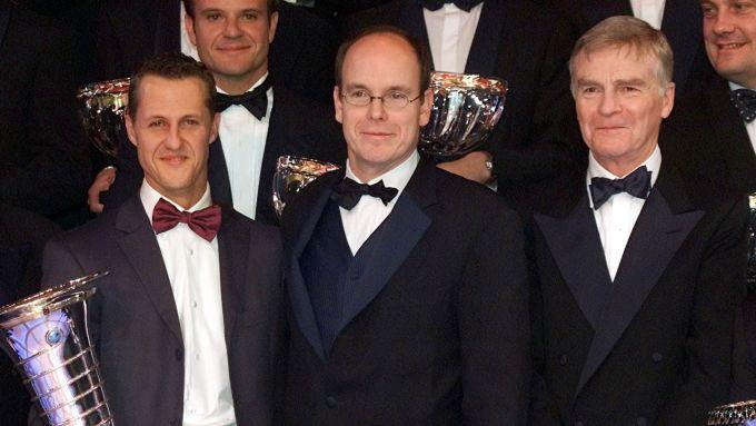 Mosley nel 2001 con il Principe Alberto di Monaco e Michael Schumacher