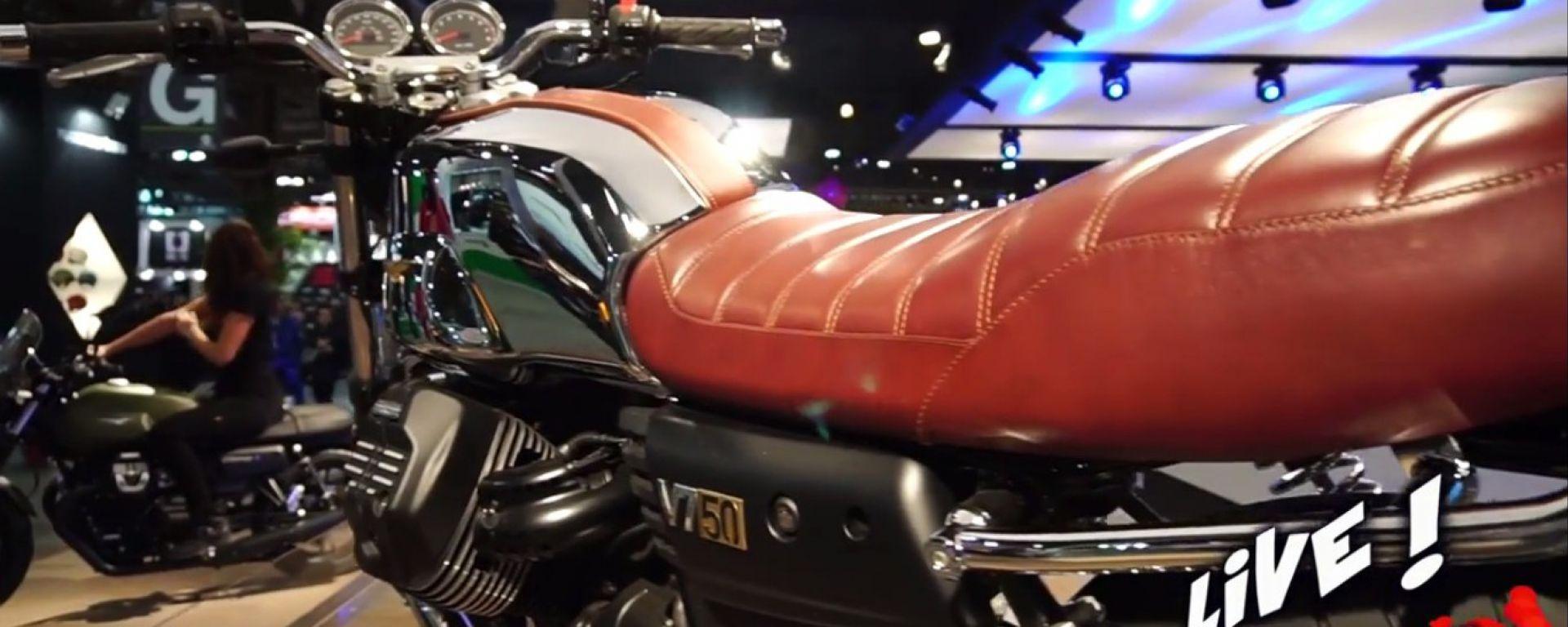 Moto Guzzi V7 nella versione speciale V7 50 anniversario, disponibile in soli 750 esemplari