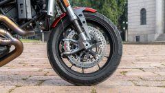 Moto Morini Milano: dettaglio della ruota anteriore con freni Brembo