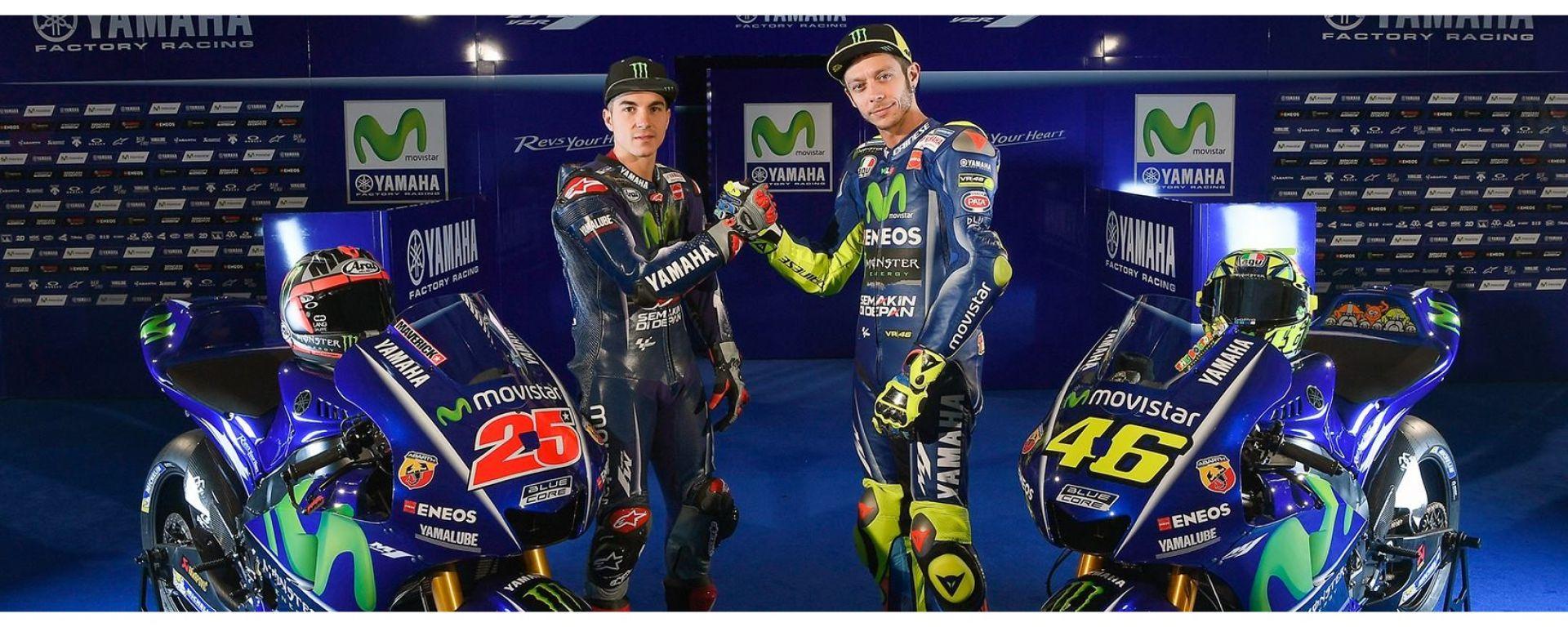 MotoGP 2017: Valentino Rossi e Maverick Vinales svelano le nuove Yamaha MotoGP 2017