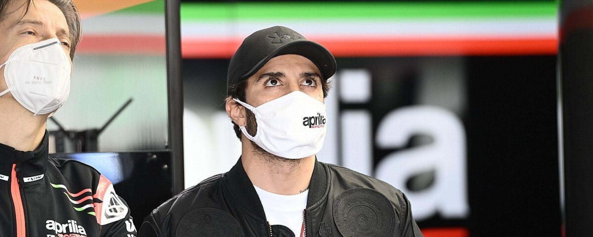 MotoGP 2020, Andrea Iannone nel box Aprilia a Valencia