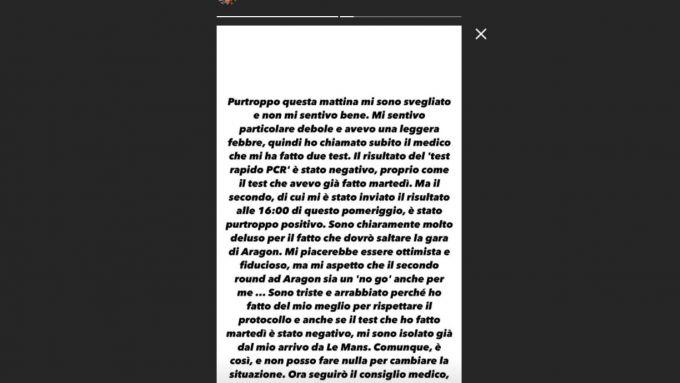 MotoGP 2020: il messaggio di Valentino Rossi, positivo al coronavirus