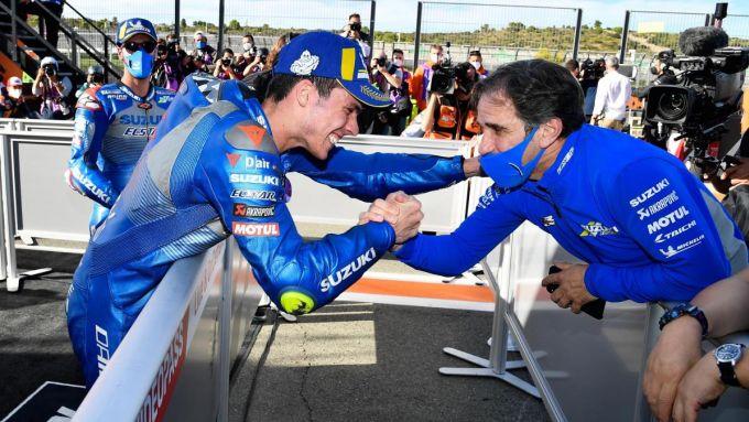 MotoGP 2020: Joan Mir con Davide Brivio (Suzuki Ecstar)