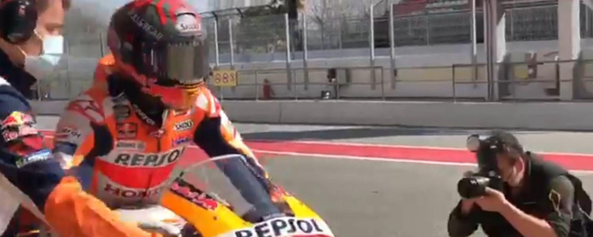 MotoGP 2021: Marc Marquez nel test privato organizzato a Barcellona