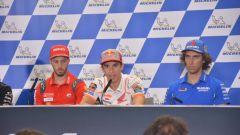 MotoGP Aragona 2019, Alcaniz, conferenza stampa: Andrea Dovizioso (Ducati), Marc Marquez (Honda), Alex Rins (Suzuki)