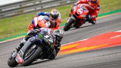 MotoGP Aragona 2019, Alcaniz, Maverick Vinales (Yamaha) inseguito da Miller e Dovizioso