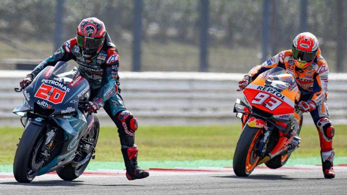 MotoGP Aragona 2020, Alcaniz: Fabio Quartararo (Yamaha) e Marc Marquez (Honda)