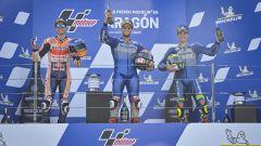 MotoGP Aragona 2020, il podio con Rins, Marquez e Mir