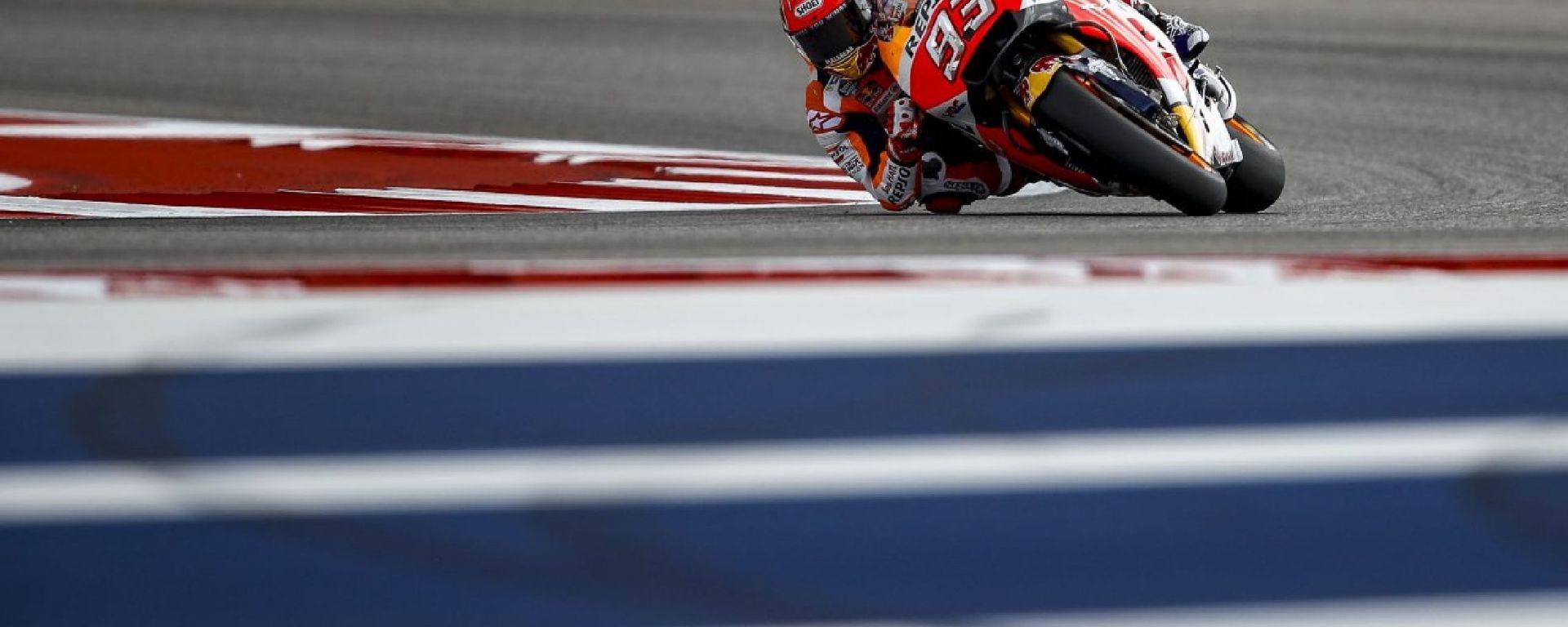 MotoGP Austin 2017: Marc Marquez in pole davanti alle due Yamaha di Maverick Vinales e Valentino Rossi
