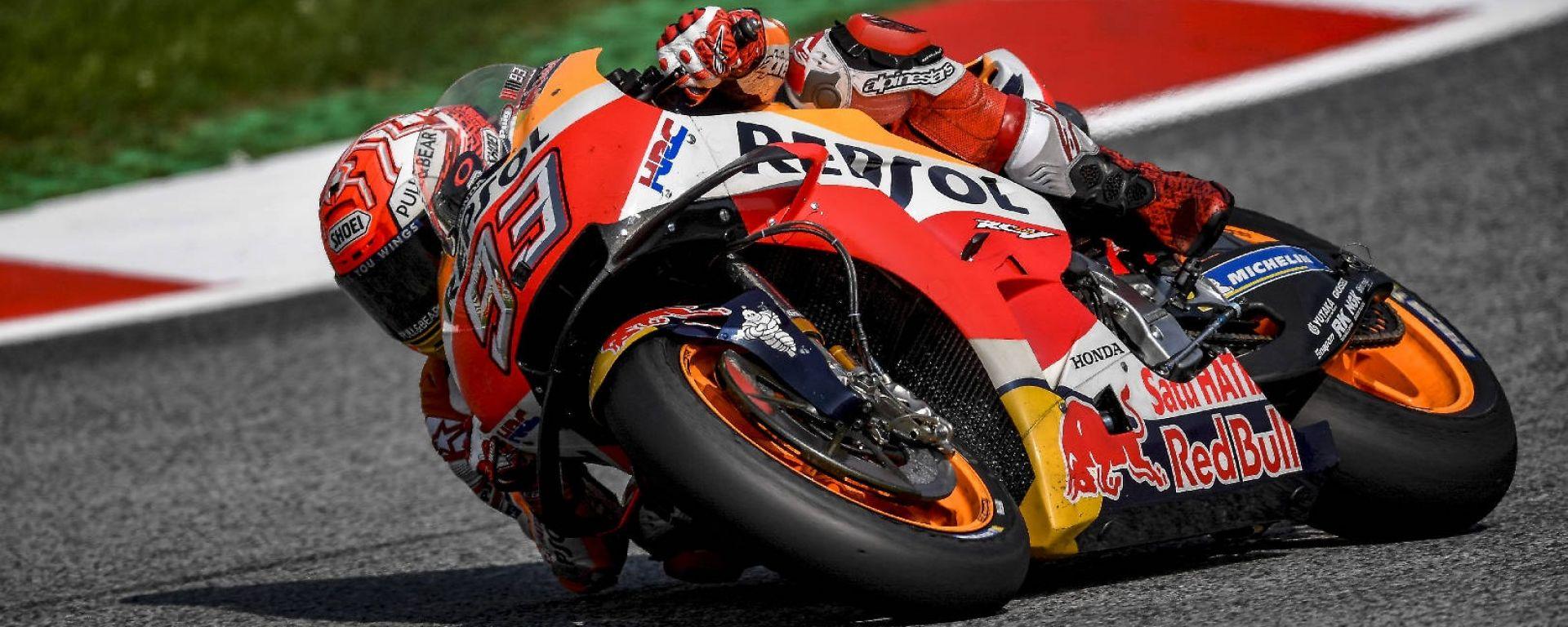 MotoGP Austria 2018: Marquez in pole, Rossi in grande difficoltà