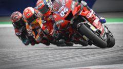 MotoGP Austria 2019, Andrea Dovizioso (Ducati), Marc Marquez (Honda) e Fabio Quartararo (Yamaha)