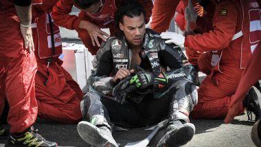 MotoGP Austria 2020, Spielberg: Franco Morbidelli (Yamaha) dopo l'incidente con Johann Zarco (Ducati)
