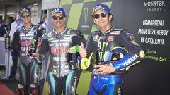 MotoGP Catalunya 2020, Barcellona: Franco Morbidelli (Yamaha) e Valentino Rossi (Yamaha), con Fabio Quartararo
