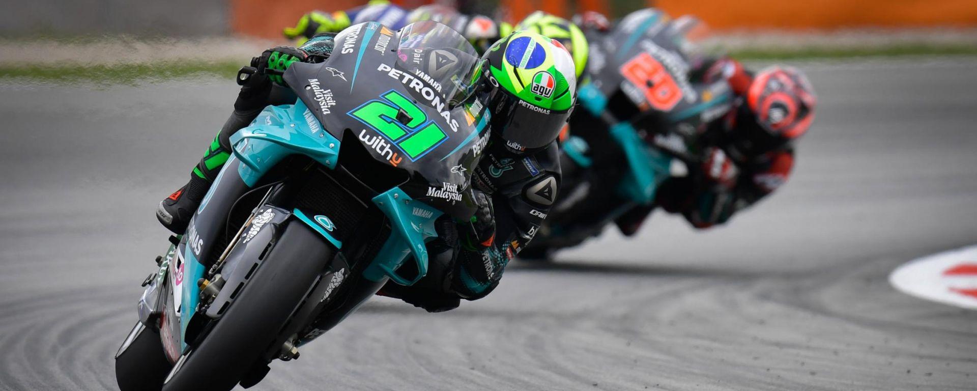 MotoGP Catalunya 2020, Morbidelli, Rossi e Quartararo (Yamaha)