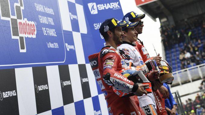 MotoGP Francia 2019, il podio di Le Mans con Marquez, Dovizioso e Petrucci