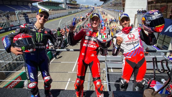 MotoGP Francia 2021, Le Mans: Fabio Quartararo (Yamaha), Jack Miller e Johann Zarco (Ducati)