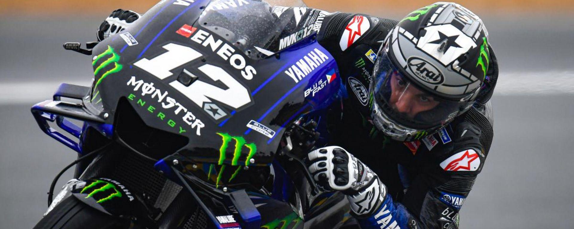 MotoGP Francia, FP3: scende la pioggia, primo Vinales