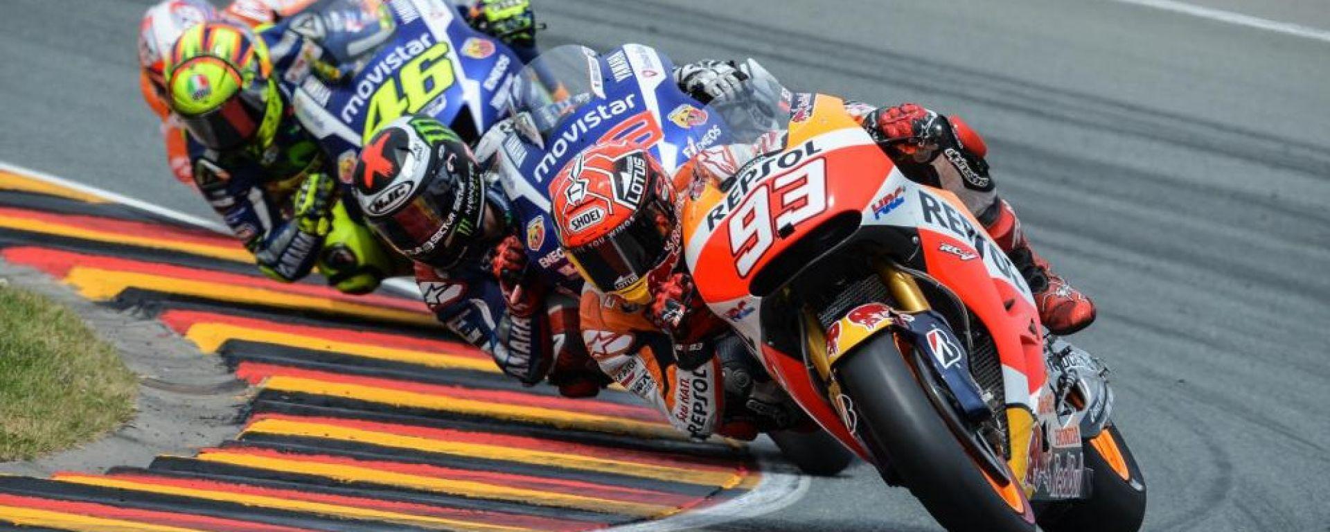 MotoGP Germania 2015: Marc Marquez, Jorge Lorenzo, Valentino Rossi (Yamaha) e Daniel Pedrosa (Honda)
