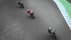 MotoGP Giappone 2019, Motegi: Franco Morbidelli e Maverick Vinales (Yamaha), Andrea Dovizioso (Ducati)