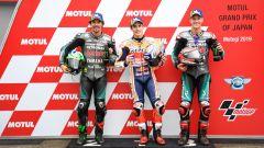 MotoGP Giappone 2019, Motegi: Marc Marquez (Honda) tra Franco Morbidelli e Fabio Quartararo (Yamaha)