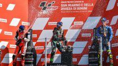 MotoGP, GP San Marino 2020: il podio con Franco Morbidelli, Pecco Bagnaia e Joan Mir