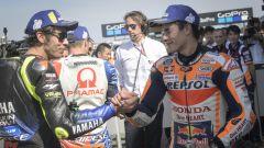 MotoGP Gran Breetagna 2019, Silverstone: Marc Marquez (Honda) e Valentino Rossi (Yamaha)