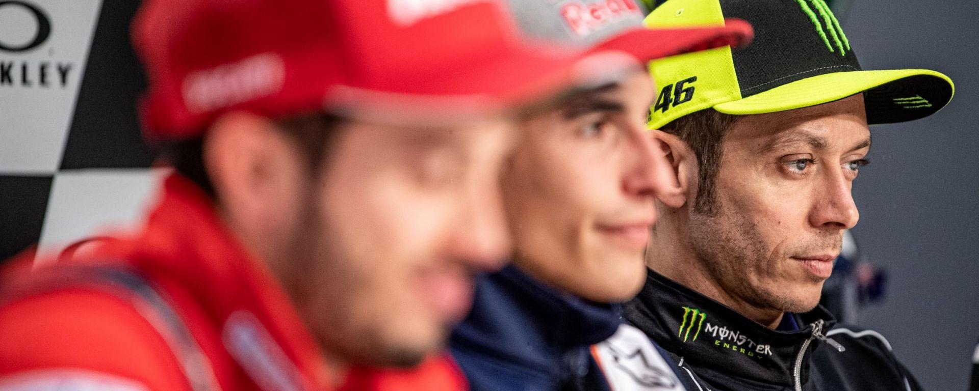 MotoGP Italia 2019, Mugello, conferenza stampa del giovedì: Dovizioso (Ducati), Marquez (Honda) e Rossi (Yamaha)