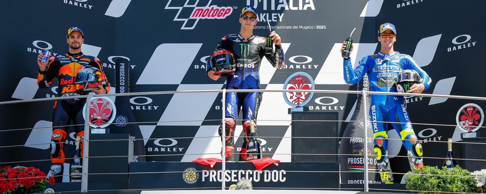 MotoGP Italia 2021, Mugello: Fabio Quartararo (Yamaha) tra Miguel Oliveira (KTM) e Joan Mir (Suzuki)