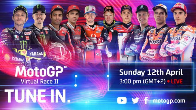 MotoGP, la locandina ufficiale del secondo Gp virtuale. C'è anche Valentino Rossi