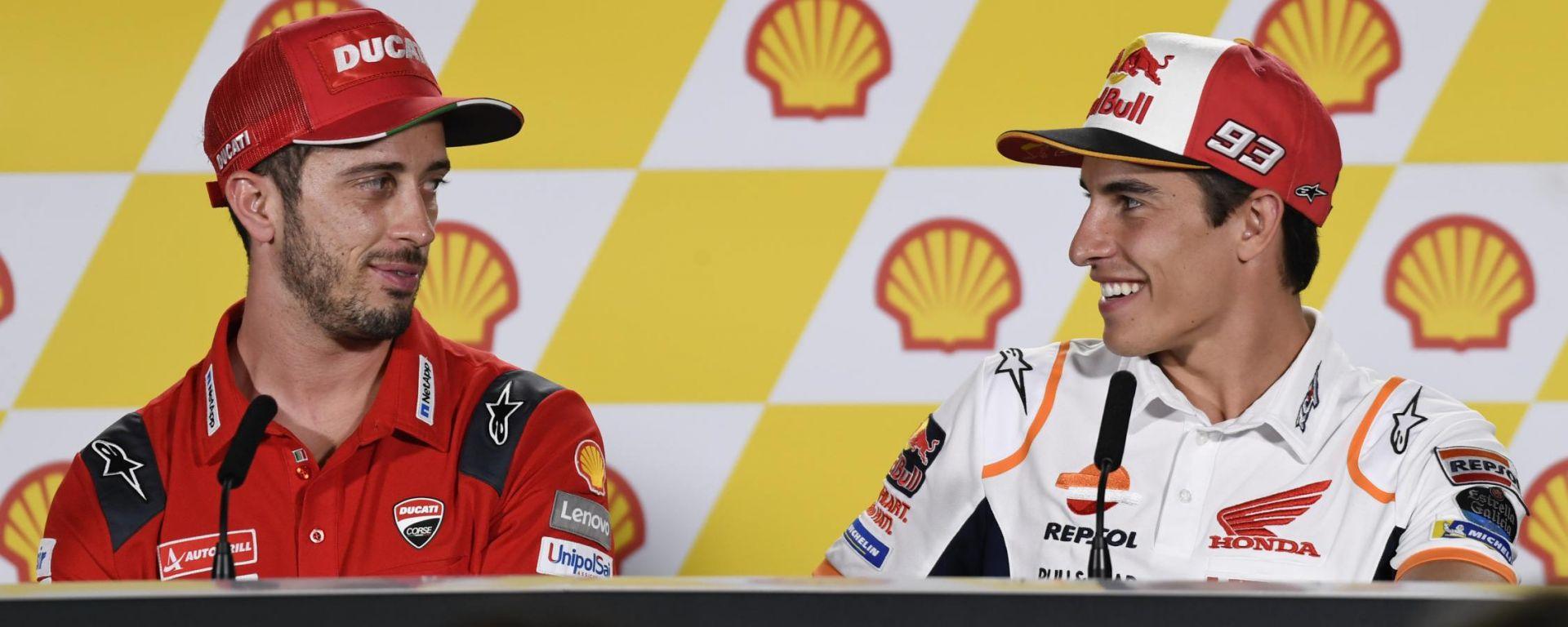 MotoGP Malesia 2019, Sepang, Andrea Dovizioso (Ducati) e Marc Marquez (Honda) nella conferenza stampa del giovedì