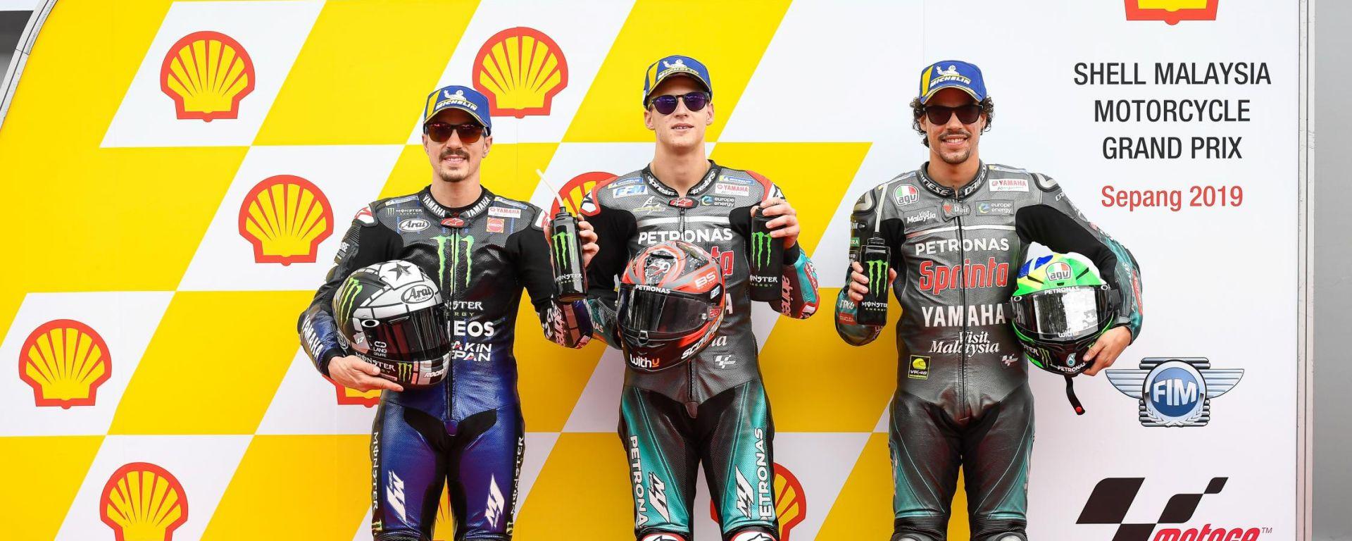 MotoGP Malesia 2019, Sepang: Fabio Quartararo, Maverick Vinales e Franco Morbidelli (Yamaha)