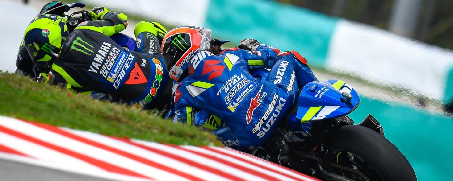 MotoGP Malesia 2019, Sepang: Valentino Rossi (Yamaha) e Alex Rins (Suzuki)