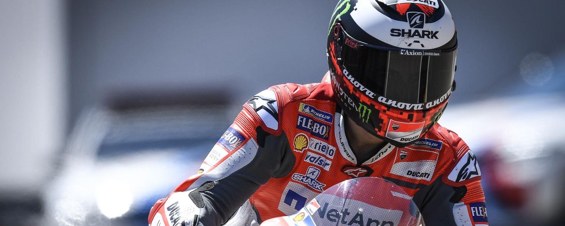MotoGP Sachsenring 2018, Jorge Lorenzo in azione con la sua Ducati