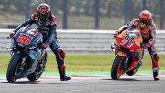 MotoGP San Marino 2019, Misano, balletto in staccata per Quartararo (Yamaha) e Marquez (Honda)