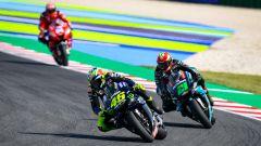 MotoGP San Marino 2019, Misano, Valentino Rossi e Franco Morbidelli (Yamaha), Andrea Dovizioso (Ducati)