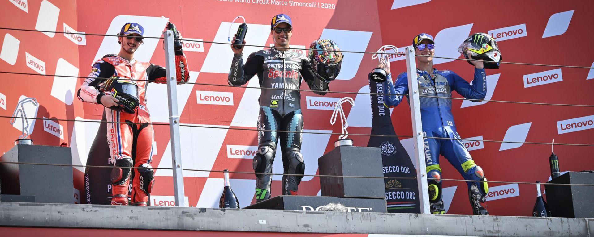 MotoGP San Marino 2020, Il podio di Misano con Morbidelli, Bagnaia e Mir