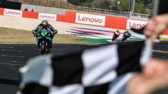 MotoGP San Marino 2020, Misano Adriatico: Franco Morbidelli (Yamaha) taglia il traguardo