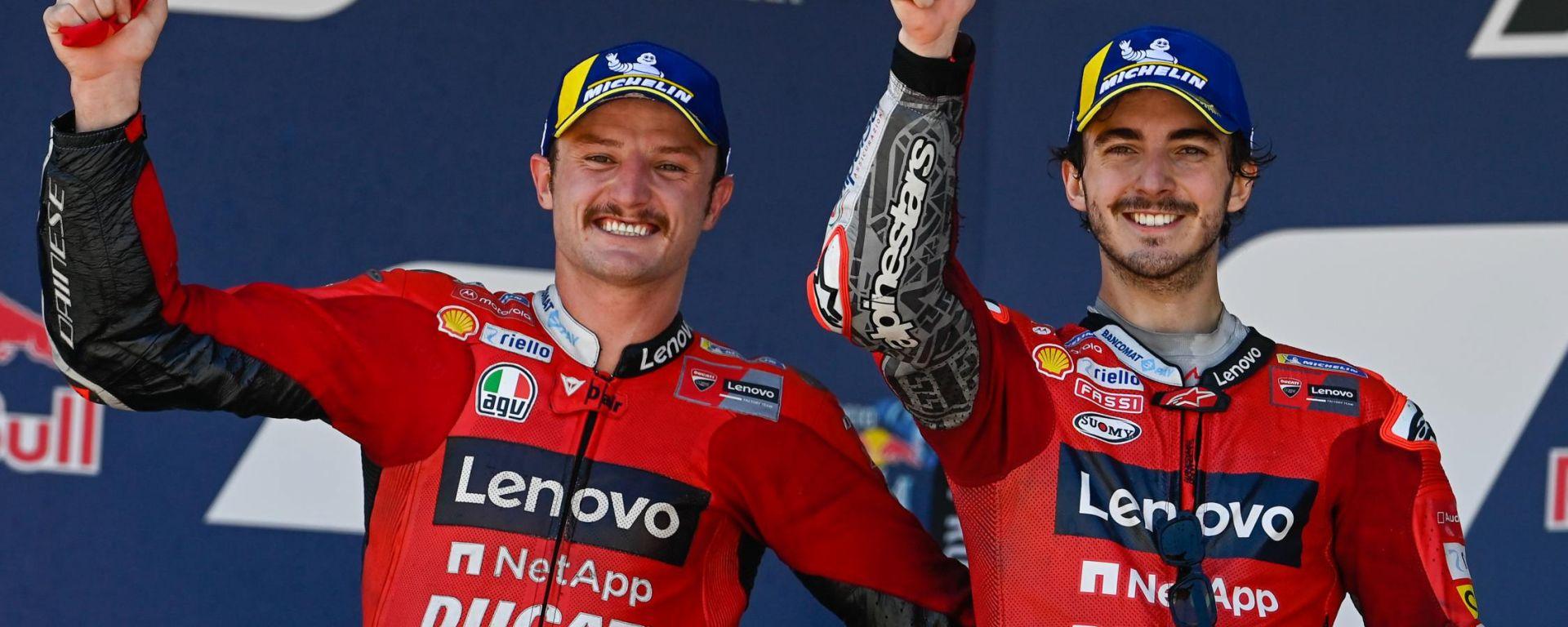 MotoGP Spagna 2021, Jerez: Jack Miller e Francesco Bagnaia (Ducati) sul podio