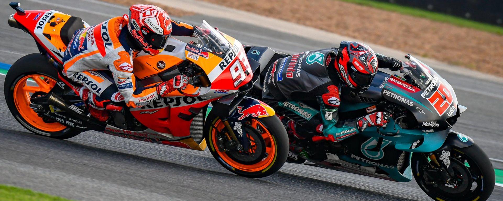 MotoGP Thailandia 2019, Buriram: Marc Marquez (Honda) e Fabio Quartararo (Yamaha)