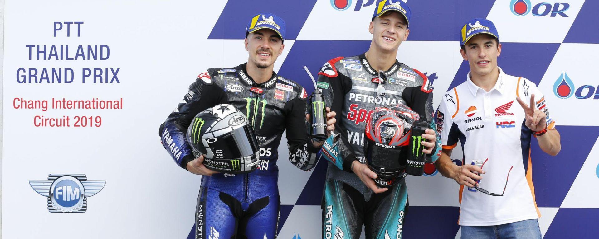 MotoGP Thailandia 2019, Buriram: Maverick Vinales e Fabio Quartararo (Yamaha), Marc Marquez (Honda)