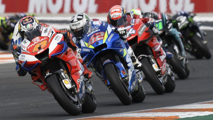 MotoGP Valencia 2019, Jack Miller (Ducati), Alex Rins (Suzuki), Andrea Dovizioso (Ducati), Franco Morbidelli (Yamaha)