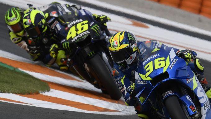 MotoGP Valencia 2019, Joan Mir (Suzuki), Valentino Rossi (Yamaha), Cal Crutchlow (Honda)
