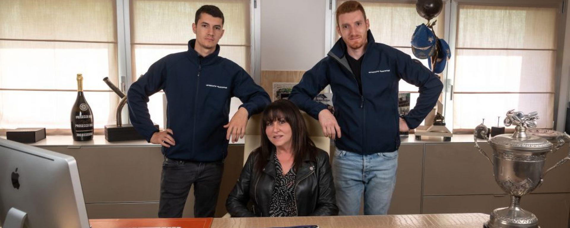 Nadia Gresini, nuova AD del team Gresini Racing, con i figli Lorenzo e Luca