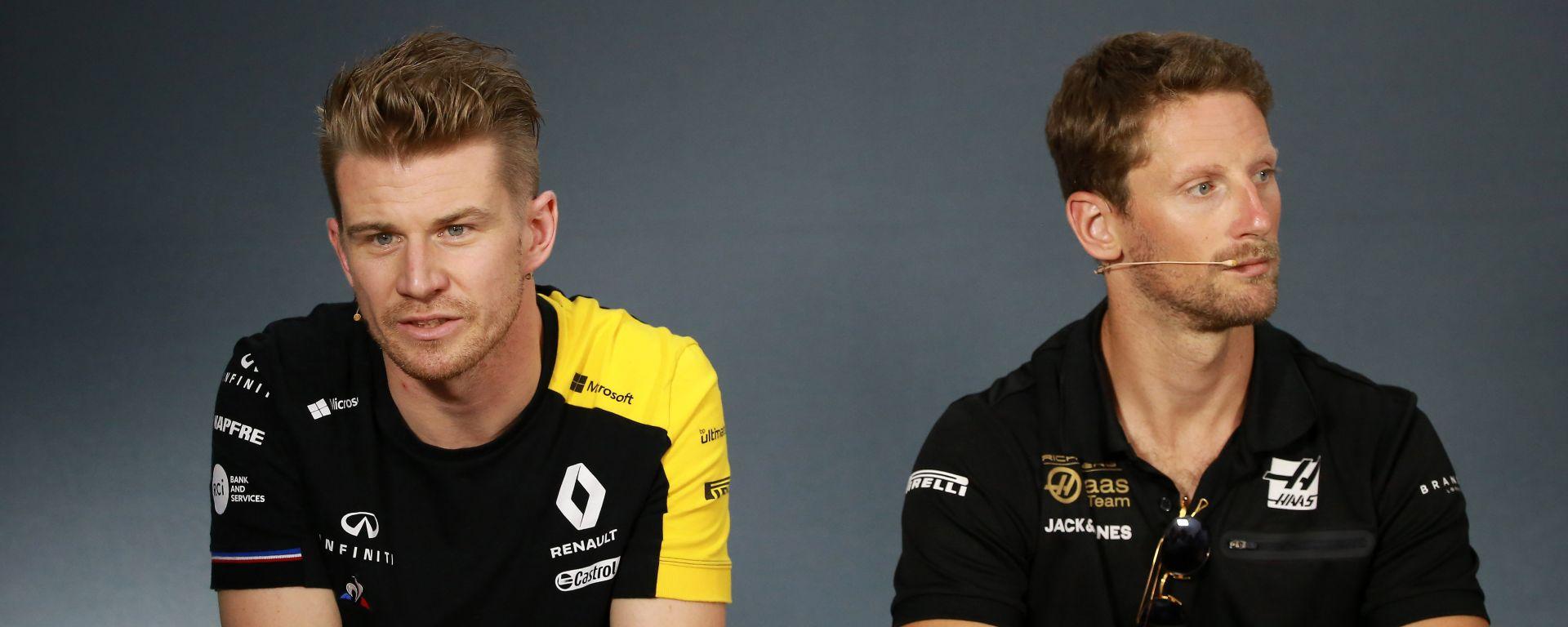 Nico Hulkenberg (Renault) e Romain Grosjean (Haas) in conferenza stampa al GP Francia 2019