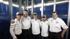 Nico Rosberg, Ross Brawn e Michael Schumacher ai tempi della Mercedes