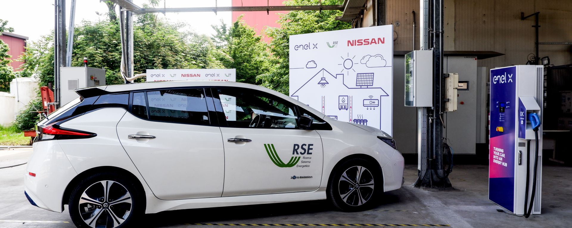 Nissan, Enel X e RSE sperimentano per primi Vehicle to Grid lato
