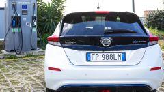 Nissan Leaf in ricarica su colonnina EVA+. Posteriore